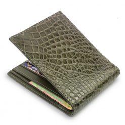portefeuille crocodile gris