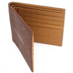 portefeuille galuchat signature mdg chocolat 3