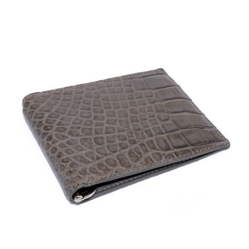 portefeuille money clip crocodile couleur taupe