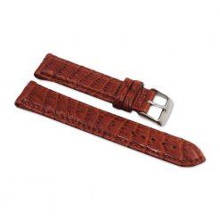 bracelet montre crocodile alligator marron acajou
