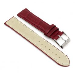 bracelet montre crocodile alligator rouge bordeaux 2