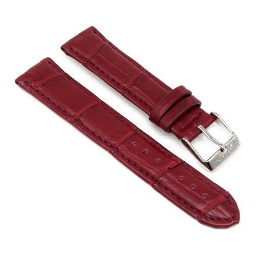 bracelet montre crocodile alligator rouge bordeaux