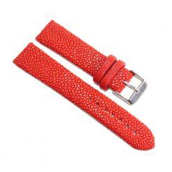 bracelet montre galuchat rouge coral