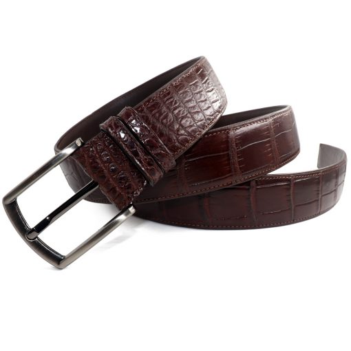 ceinture crocodile marron larges ecailles
