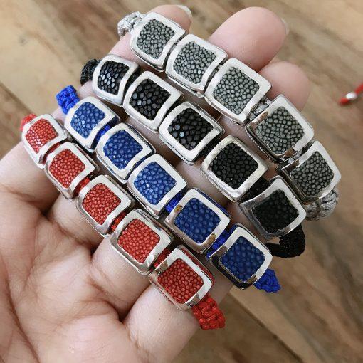 bracelet galuchat argent 925 perles carres