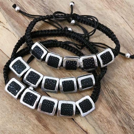 bracelet galuchat argent 925 perles carres noir2