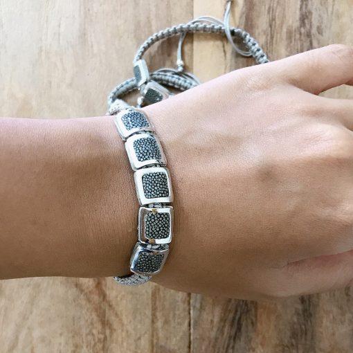 bracelet galuchat argent 925 perles carres steel