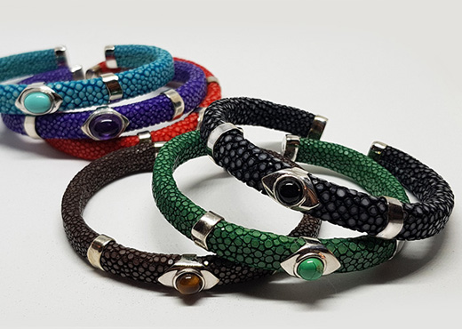 bracelet galuchat pierres 2