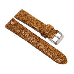 bracelet montre galuchat moutarde