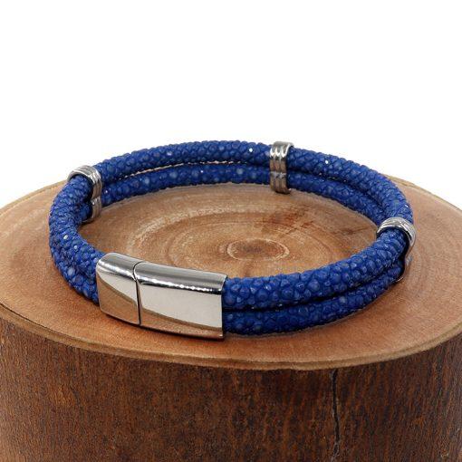 double bracelet jonc 5mm couleur bleu saphir