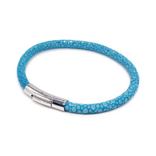 bracelet jonc galuchat turquoise mdg 2