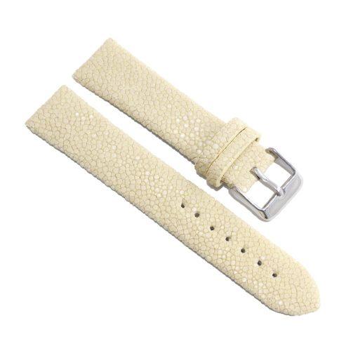 bracelet montre galuchat neige blanc