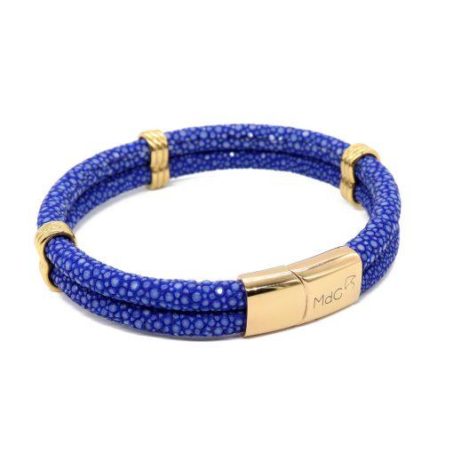 double bracelet jonc 5mm couleur bleu saphir 1