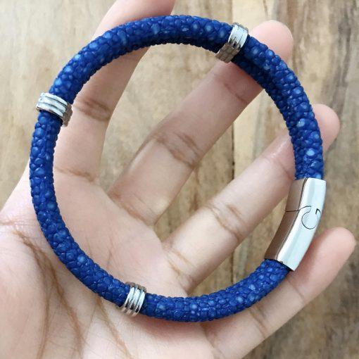 double bracelet jonc 5mm couleur bleu saphir 2