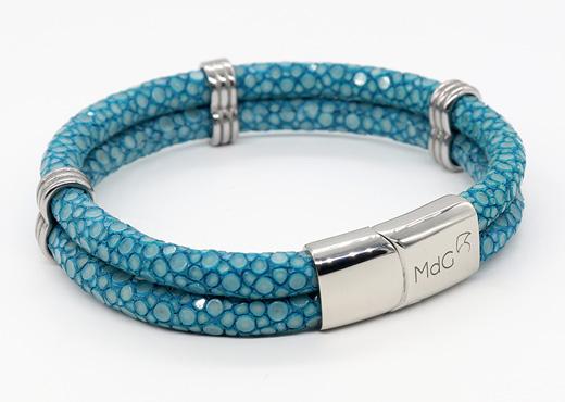 double bracelet jonc 5mm couleur turquoise