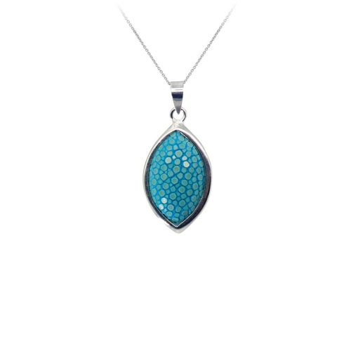 pendentif galuchat argent forme feuille turquoise