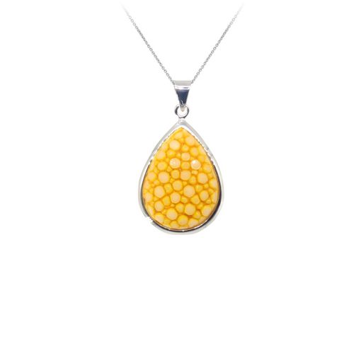 pendentif galuchat argent perle citron