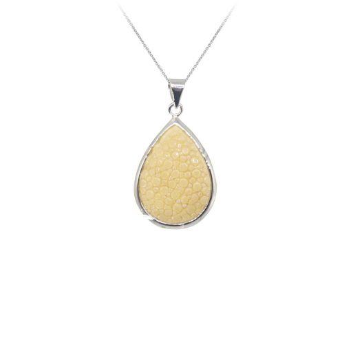 pendentif galuchat argent perle naturelle