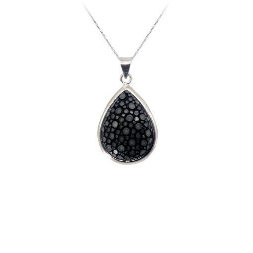 pendentif galuchat argent perle noir