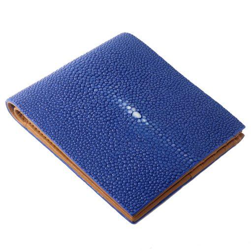 portefeuille galuchat signature mdg bleu shapir