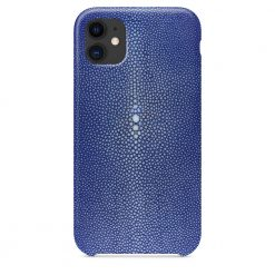 Coque iPhone 11 bleu galuchat