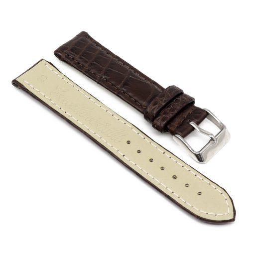 bracelet montre crocodile alligator marron chene