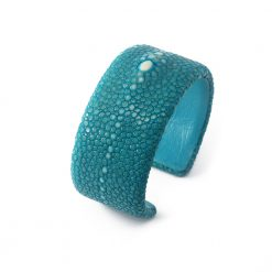 manchette galuchat turquoise 30mm perle