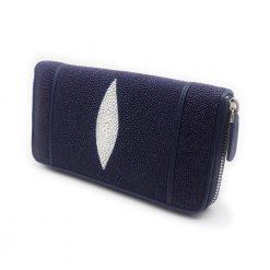 portefeuille long galuchat brut bleu 1