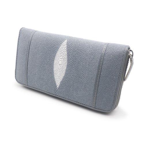 portefeuille long galuchat brut gris argent 1