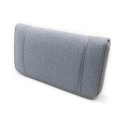 portefeuille long galuchat brut gris argent 3