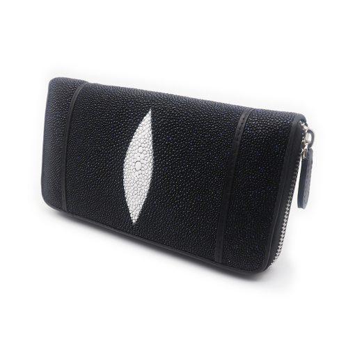 portefeuille long galuchat brut noir 1