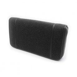 portefeuille long galuchat brut noir 2