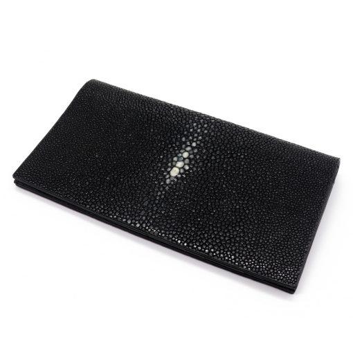 portefeuille long galuchat poli noir wp006
