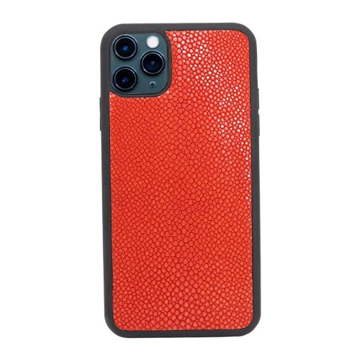 Coque iPhone 11 Pro silicone galuchat rouge