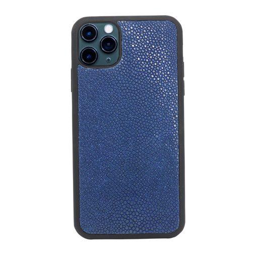 Coque iPhone 11 Pro silicone galuchat saphir