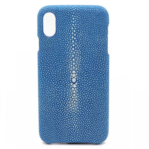 coque iphone XS MAX galuchat turquoise mdg