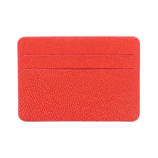 porte cartes galuchat mdg rouge corail