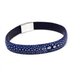 bracelet bande 10mm galuchat bleu saphir