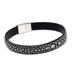 bracelet bande 10mm galuchat gris anthracite