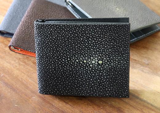 portefeuille clip galuchat noir 3
