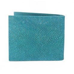 portefeuille clip galuchat turquoise 2