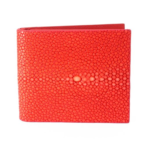 portefeuille clip galuchat rouge corail 1