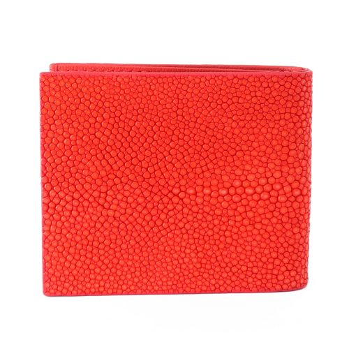 portefeuille clip galuchat rouge corail 2