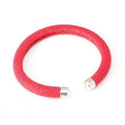 bracelet galuchat jonc rigide 6mm fushia