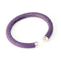 bracelet galuchat jonc rigide 6mm lavande