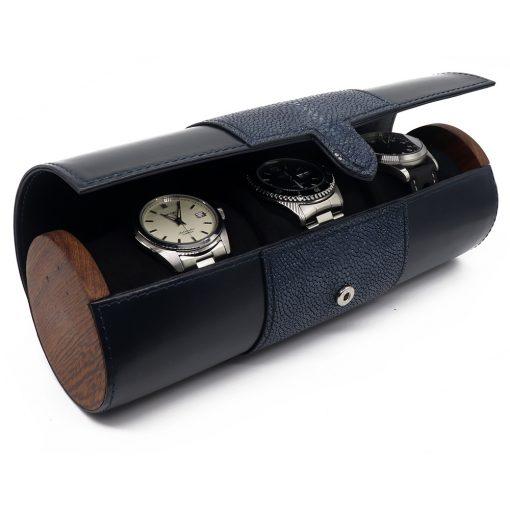 etui de voyage montre luxe cuir galuchat 2 long mixte